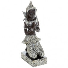 Thai Buddha Kneeling Medium 23cm Silver Gold Statue Ornament