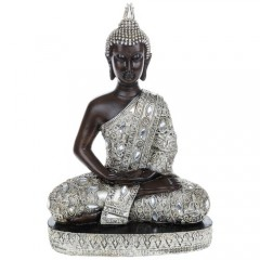Large Meditating Thai Buddha 31cm Silver Gold Statue Ornament