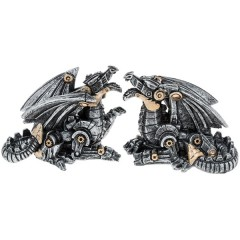 Set of Two Steampunk Dragons Mini Decoration Ornament