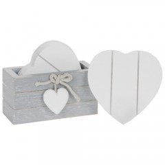 Provence Heart Coasters with Holder Wood Grey / White Shabby Chic