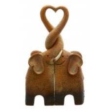 Entwined Kissing Elephant Family Making a Heart Ornament