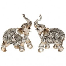 Set of Two Silver Buddha Elephant Medium 14cm Ornament