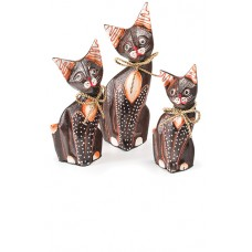 Fair Trade Set of Three Handcarved Wooden Cats - Small