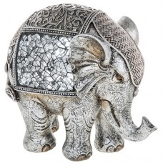 Silver Crackle Elephant Large Ornament