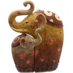 Elephant Mother & Baby Family with Hearts Ornament