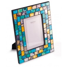 Handmade Mosaic Glass Turquoise & Gold Photo Picture Frame 6 x 4