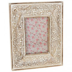 """Hand Carved Mango Wood Photo Picture Frame 6 x 4"""" Rustic Shabby Chic"""
