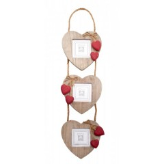 """Three Hanging Rustic Wooden Heart Photo Picture Frame 3 x 3"""" Red Hearts"""